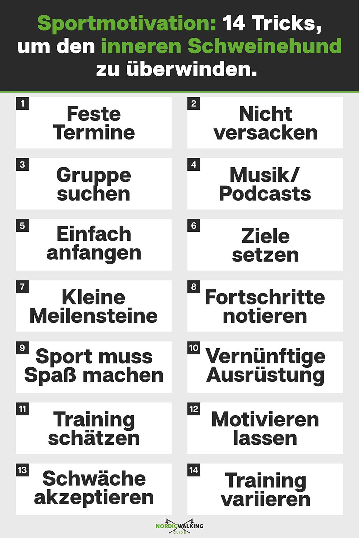 Sportmotivation: 14 Tricks, um den inneren Schweinehund zu überwinden [Infografik]